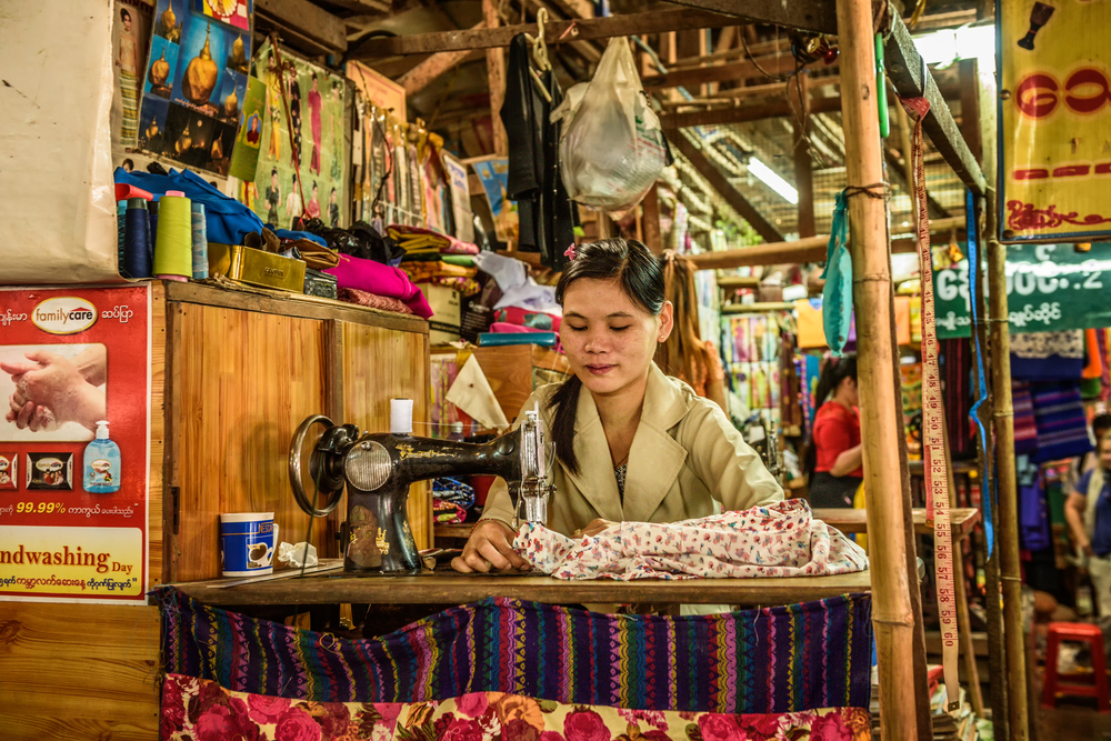 sewing machine at a local market in Yangon_387697198