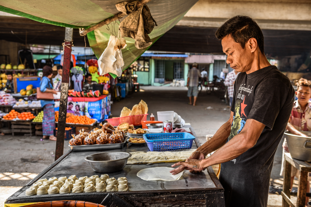 traditional Burmese street food in Yangon_386168203