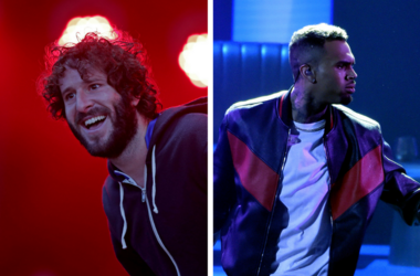 Lil Dicky performs at the Okeechobee Music Festival / Chris Brown performs at the 2017 BET Awards in Los Angeles.