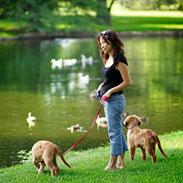 Christina with Pebbles and Bam Bam at Highland Park