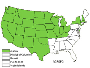 Native States for Wheatgrass (Agropyron)