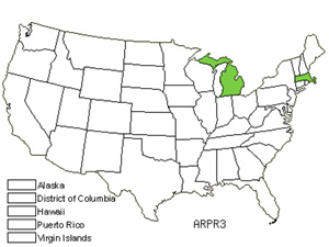 Native States for Running Rockcress (Arabis Procurrens)