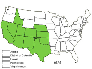 Native States for Spider Milkweed (Asclepias Asperula)