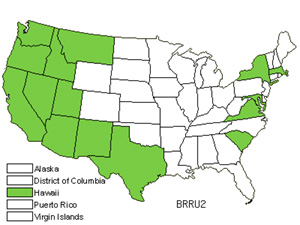 Native States for Red Brome (Bromus Rubens)