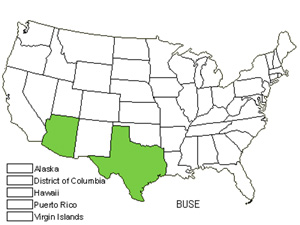 Native States for Rio Grande Butterflybush (Buddleja Sessiliflora)
