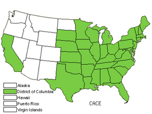 Native States for Oval-Leaf Sedge (Carex Cephalophora)