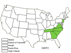 Native States for Carolina Oatgrass (Danthonia Epilis)