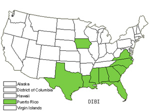 Native States for Asian Crabgrass (Digitaria Bicornis)