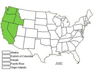 Native States for Western Juniper (Juniperus Occidentalis)