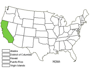 Native States for Yellow Monardella (Monardella Nana)