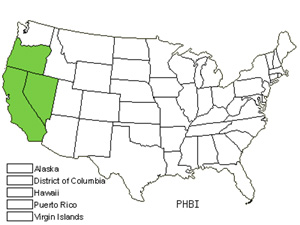 Native States for Twocolor Phacelia (Phacelia Bicolor)