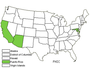 Native States for Tropical Pokeweed (Phytolacca Icosandra)