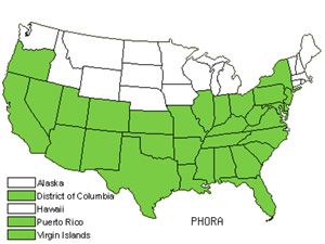 Native States for Mistletoe (Phoradendron)