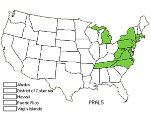 Native States for Allegheny Plum (Prunus Alleghaniensis)