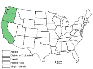 Native States for Spreading Gooseberry (Ribes Divaricatum)