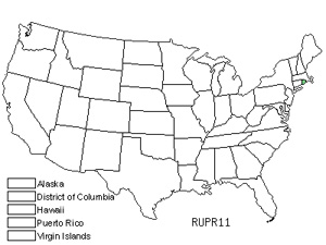 Native States for Rhode Island Dewberry (Rubus Prosper)