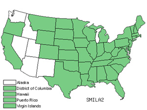 Native States for Greenbrier (Smilax)