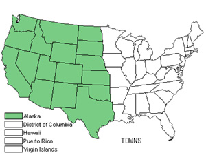 Native States for Townsend Daisy (Townsendia)