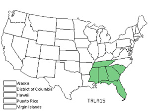 Native States for Lanceleaf Wakerobin (Trillium Lancifolium)