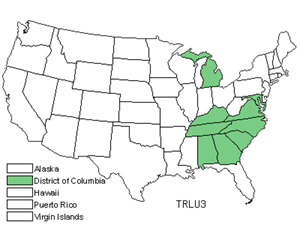 Native States for Yellow Wakerobin (Trillium Luteum)