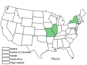 Native States for Wood Wakerobin (Trillium Viride)