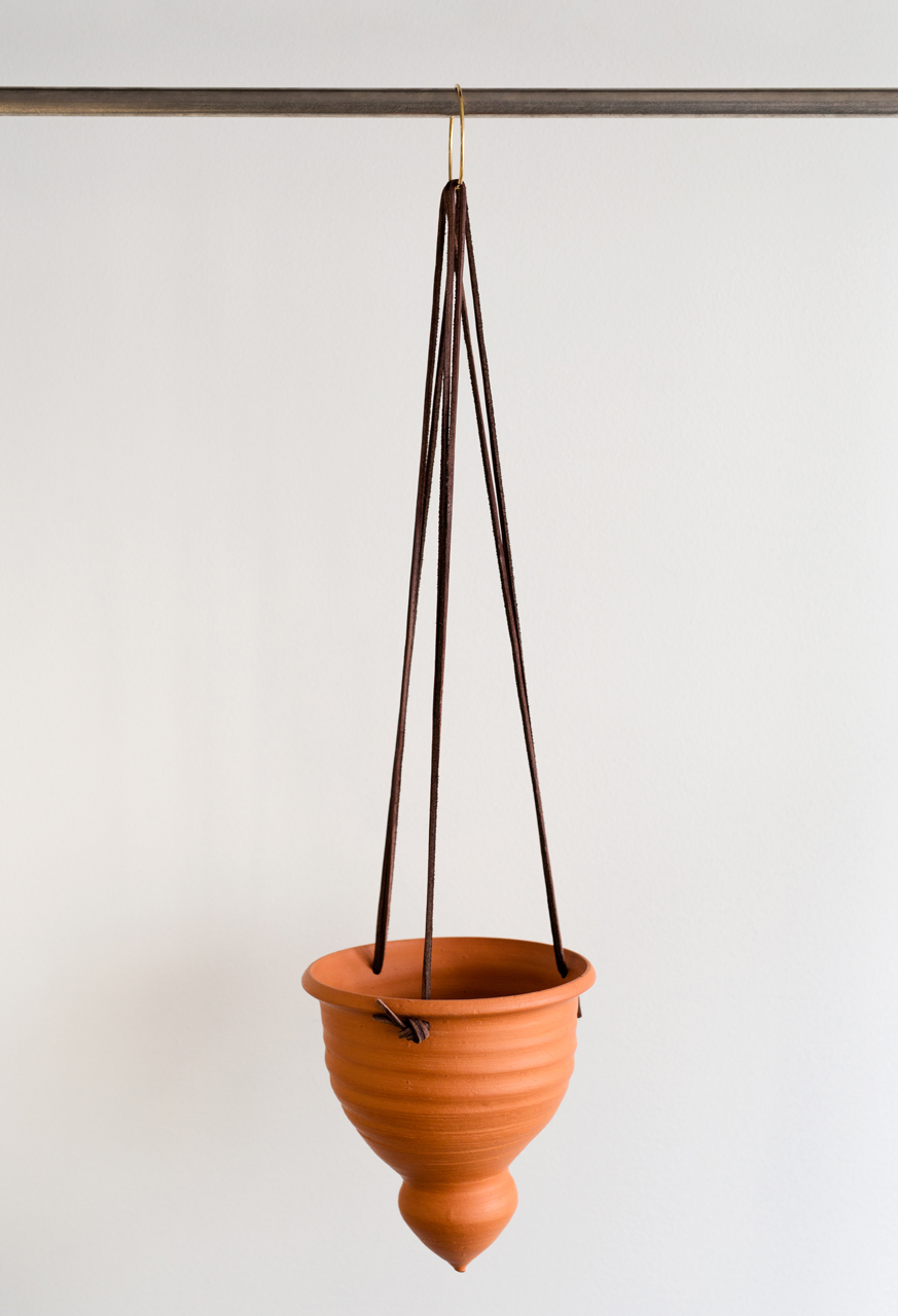 Red clay hanging planter
