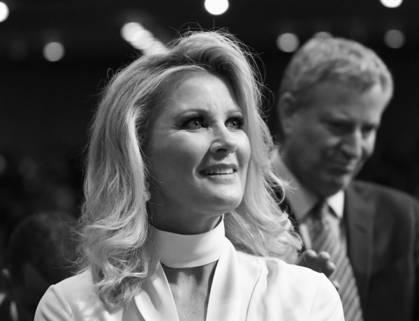 Sandra Lee, girlfriend of New York Gov. Andrew Cuomo, waits for the start of Cuomo's state of the state address at the Empire State Plaza Convention Center on Wednesday, Jan. 3, 2018, in Albany, N.Y. (AP Photo/Hans Pennink)