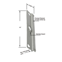 "Security 12"" Heavy Gauge Steel Latch Guard for Flush Mount Single or Paired Doors"