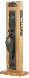 Emtek Rectangular Full Length Sandcast Bronze Mortise Entrance Handleset