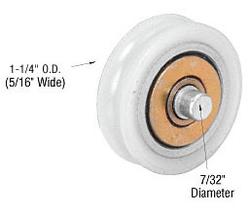 "Sliding Glass Door 1-1/4"" Diameter Nylon Ball Bearing Replacement Roller 5/16"" Wide"