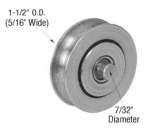 """Sliding Glass Door 1-1/2"""" Diameter Stainless Steel B.B. Replacement Roller 5/16"""" Wide"""