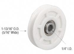 "Sliding Glass 1-3/4"" Diameter Nylon Ball Bearing Replacement Roller 3/8"" Wide"