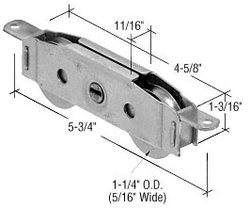 "Sliding Glass Door 1-1/4"" Tandem Steel Ball Bearing Roller with 11/16"" Wide Housing"