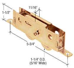"Sliding Glass Door 1-1/4"" Tandem Ball Bearing Steel Roller with 11/16"" Wide Housing"