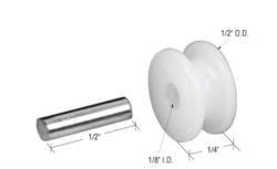 "Sliding Window 1/2"" Nylon Center Grove Roller with Aluminum Axle Pin"