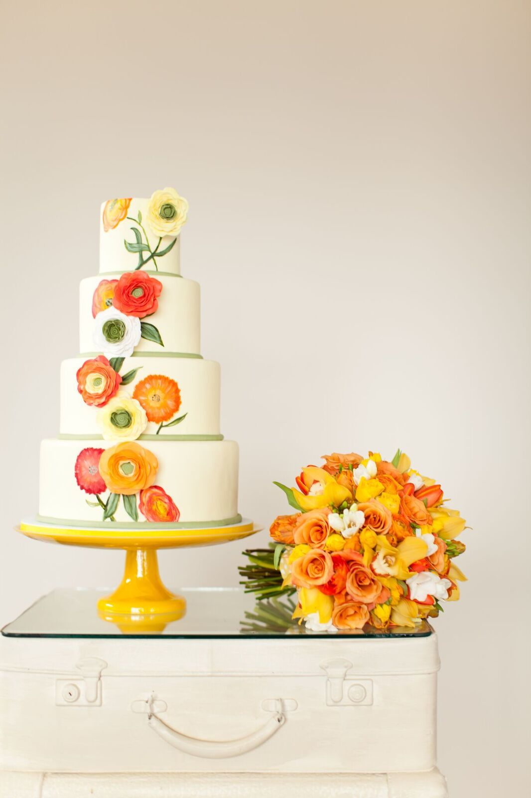 Handpainted Orange Wedding