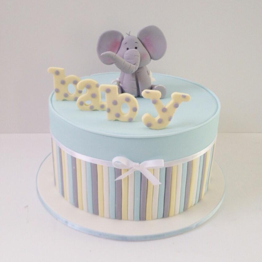 Elephant themed baby boy cake