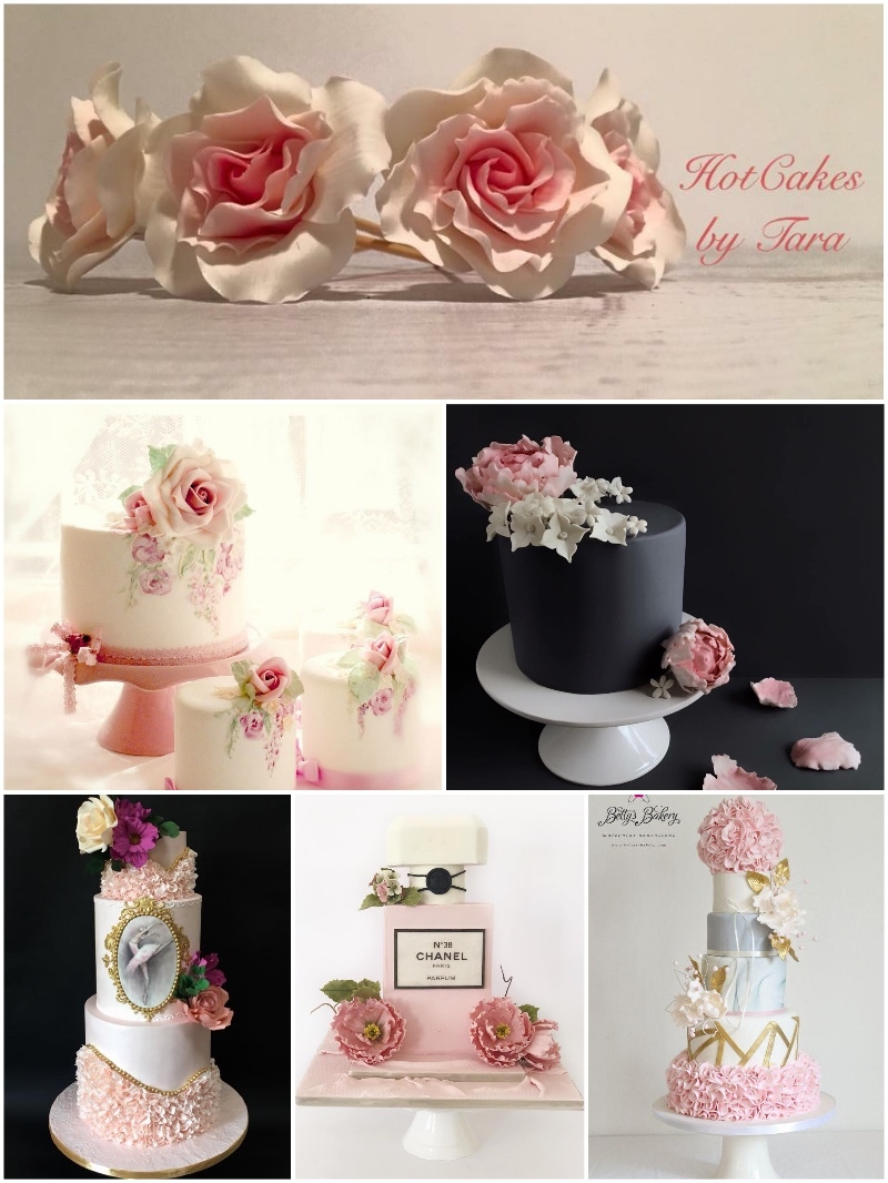 Satin Ice Pink Gum Paste Fondant Cakes with Sugar Flowers