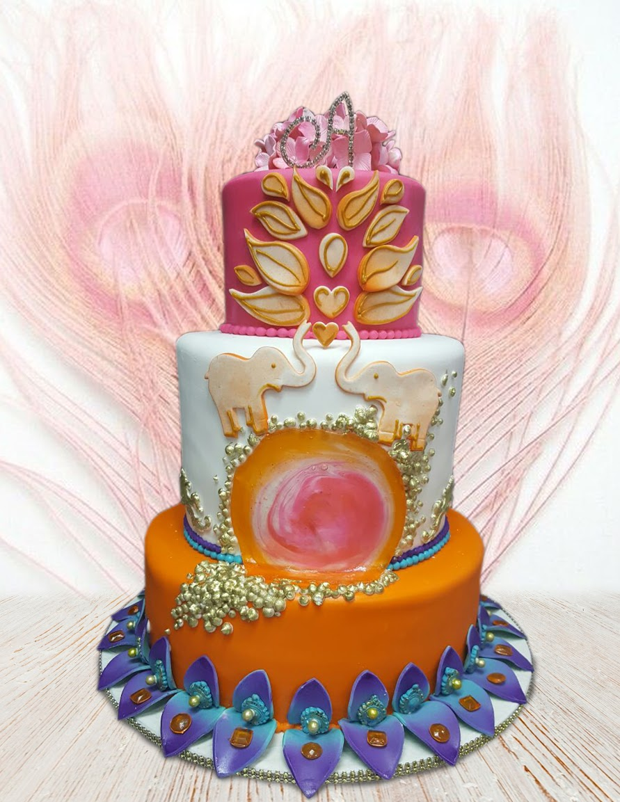 Elephant themed wedding cake