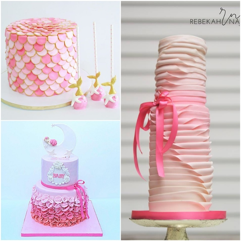 Satin Ice Ombre Pink Fondant Cakes