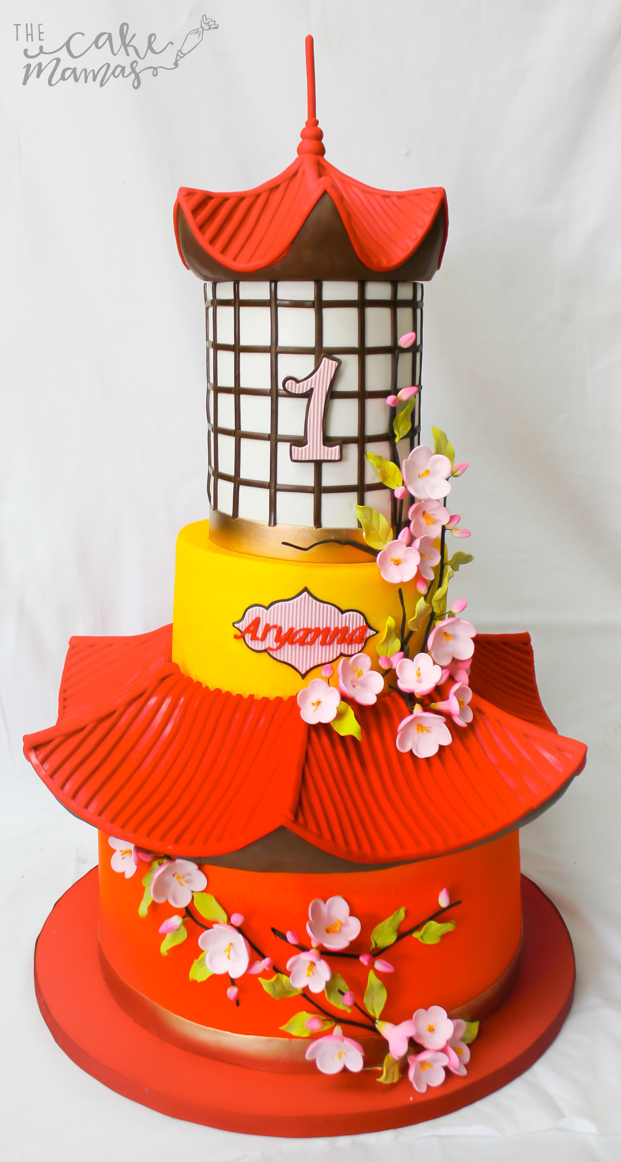 Asian themed red birthday cake
