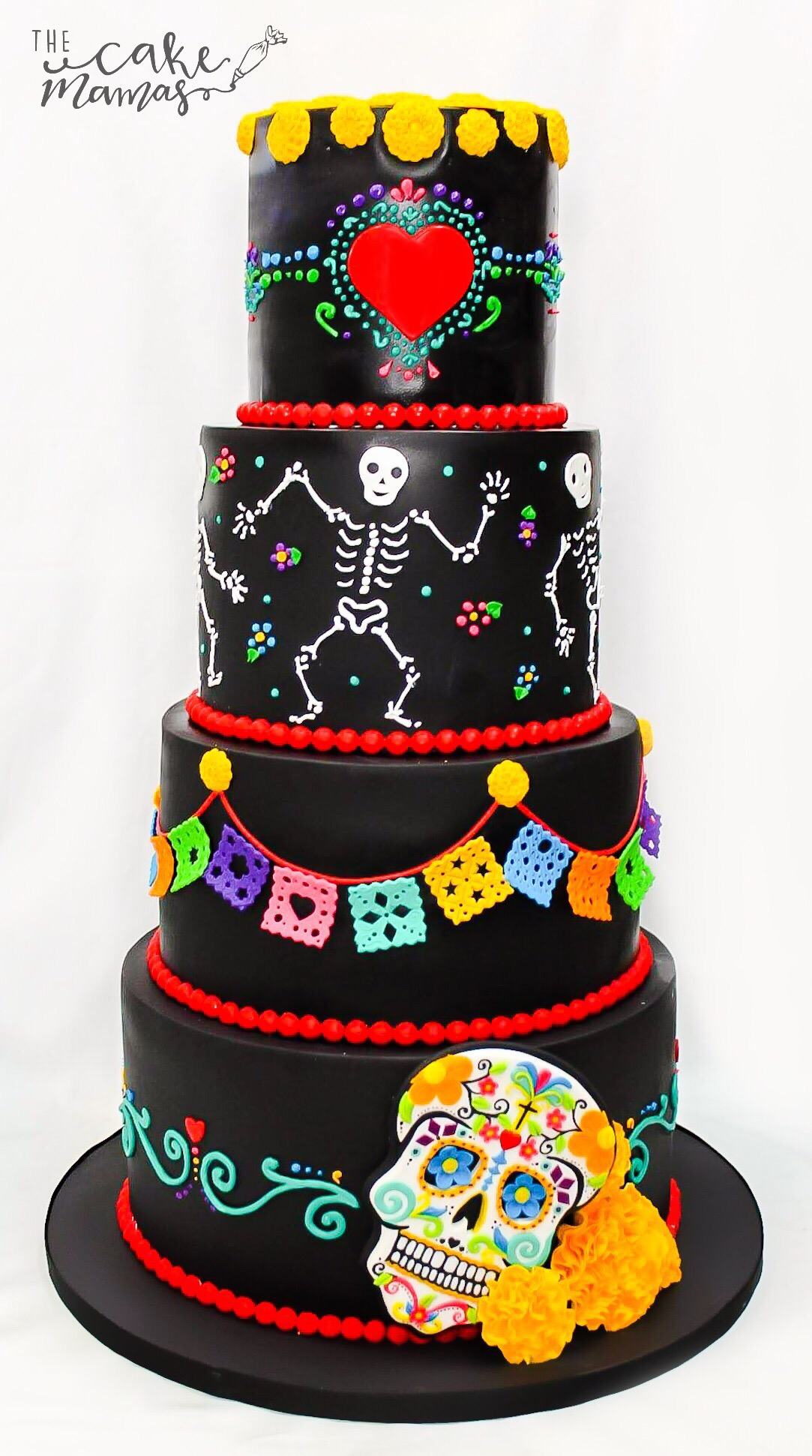 Black Sugar skull themed birthday cake