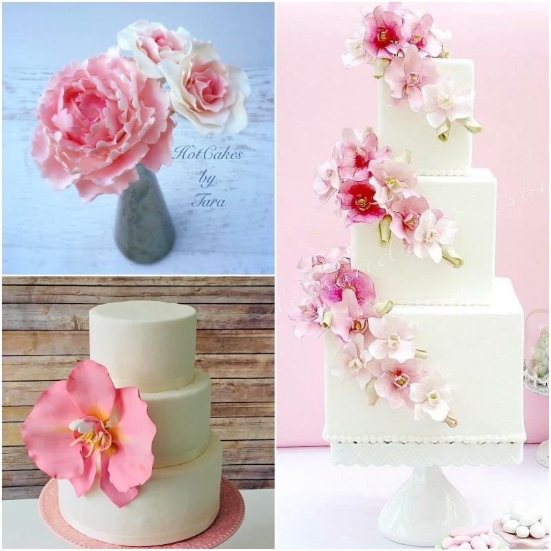 Satin Ice Floral Pink Petal Cakes