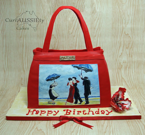 Red handbag sculpted birthday cake