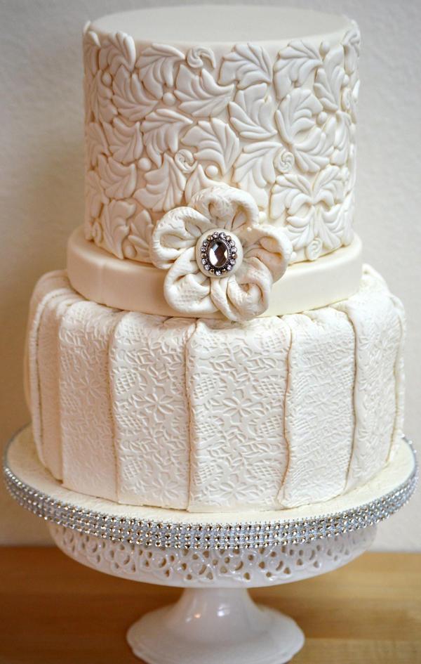 Textured Fabric Wedding Cake