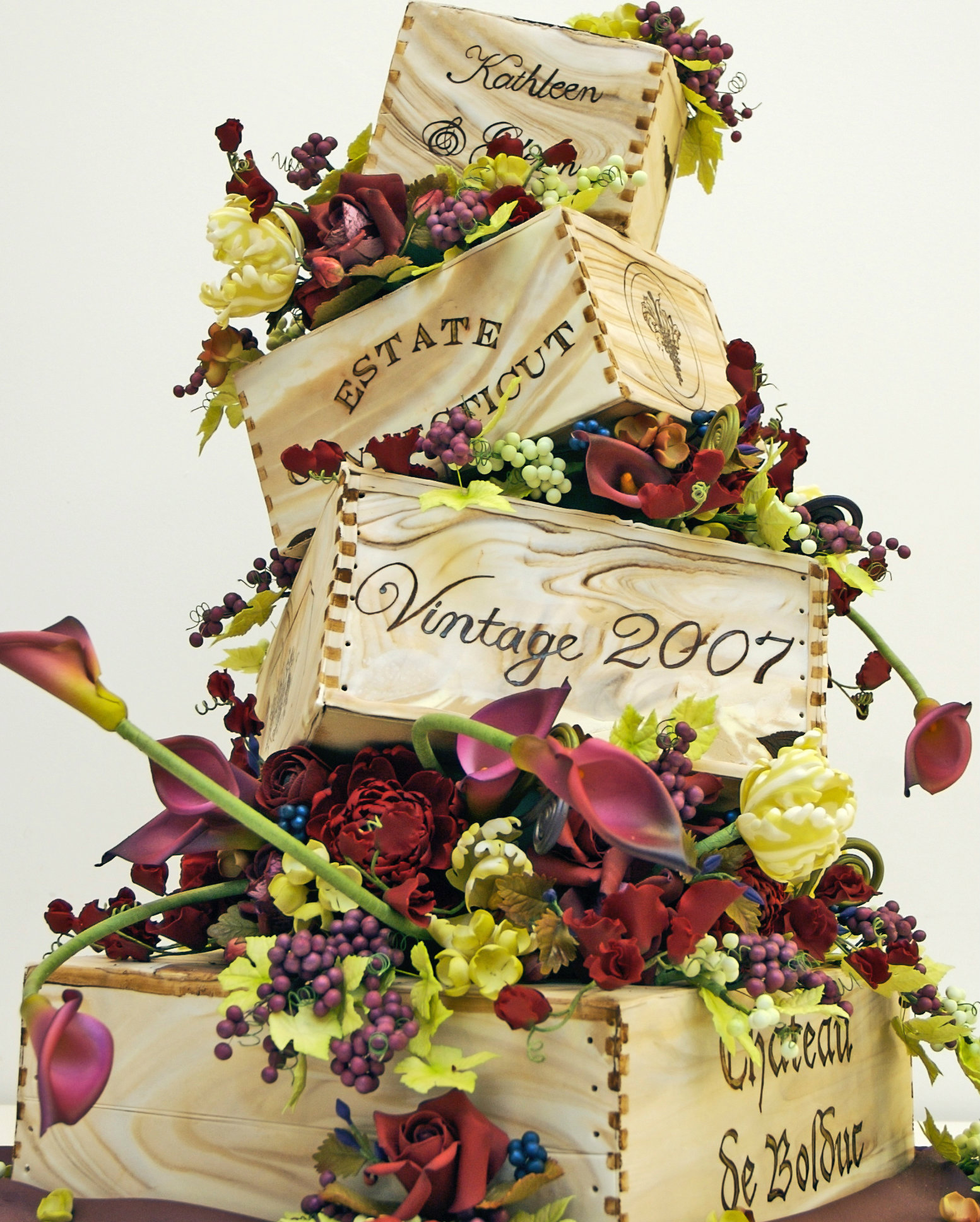 Wine Crate Floral Wedding Cake