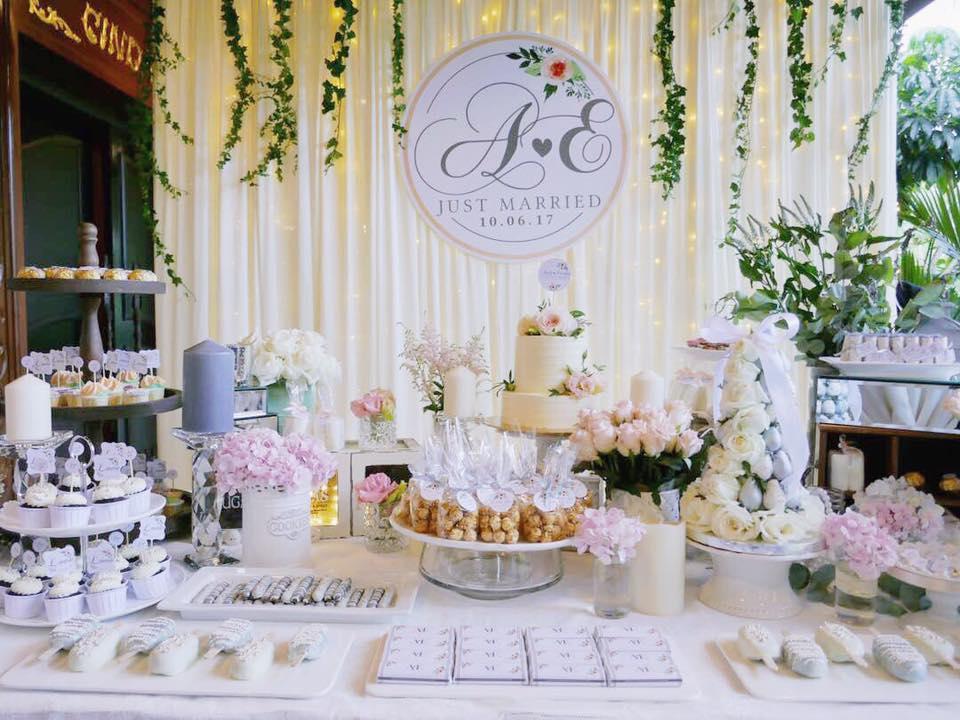 Ivory fondant wedding cake dessert table