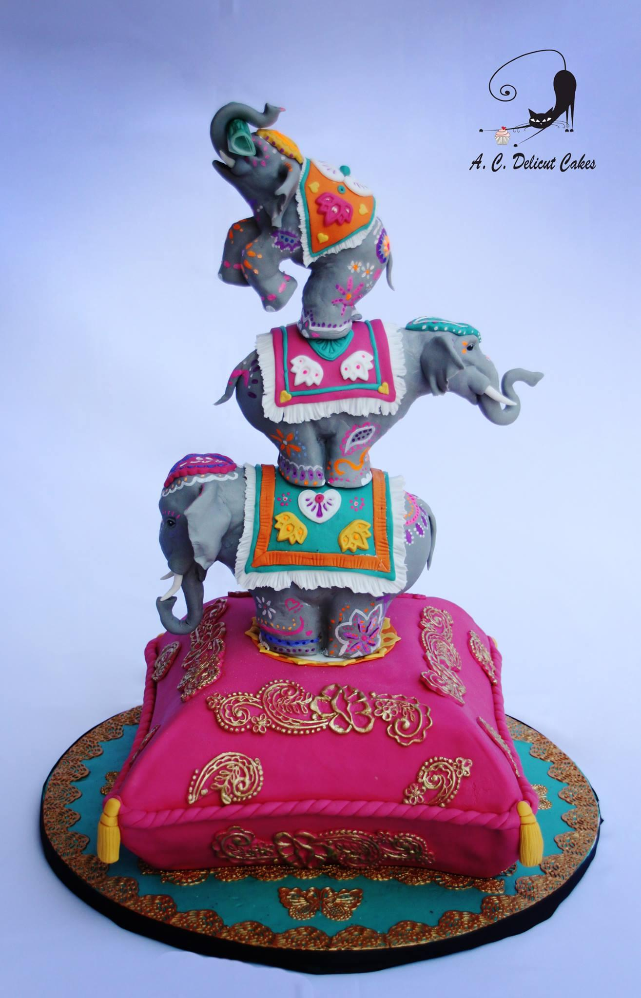 Topsy turvy elephant cake with bright colors