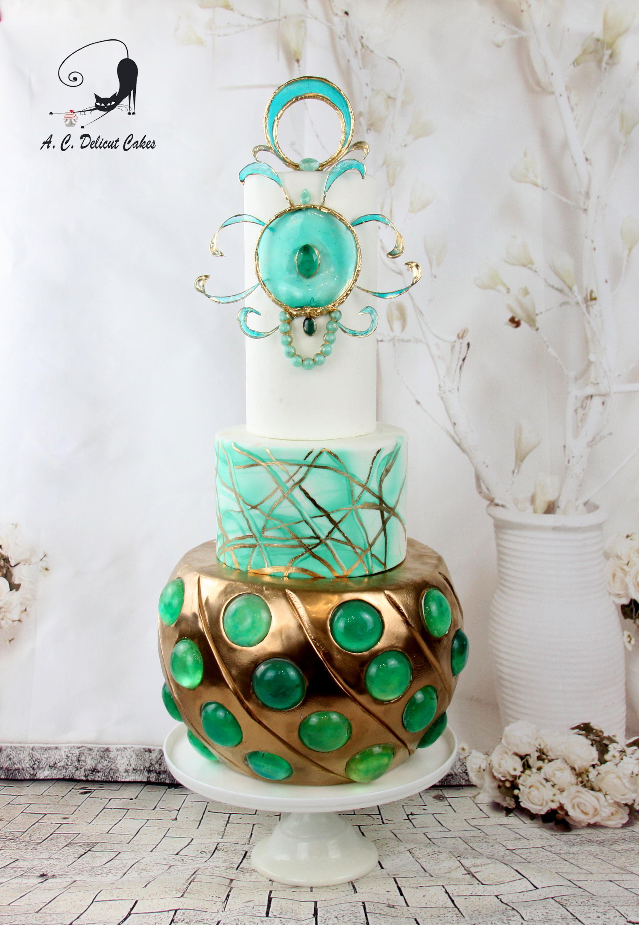 Aquamarine wedding cake