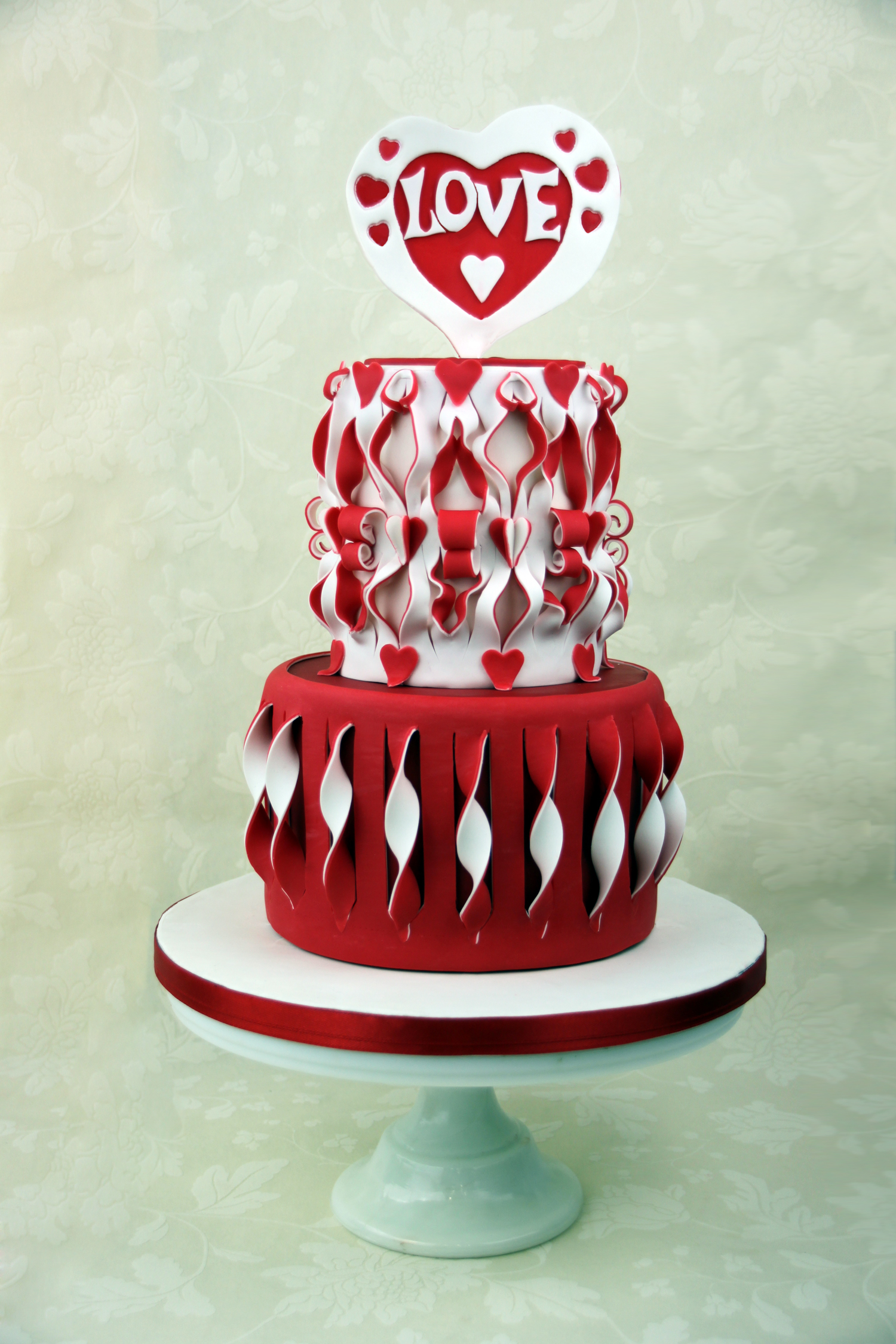 Red and white heart cake